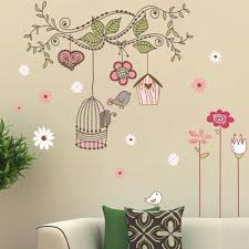 online get cheap flower baby wallpaper aliexpress com alibaba group removable wall stickers flower birds cage decorative art sticker for kids baby children s room background wallpaper
