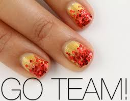 give yourself a glitter ombre manicure to support your team on