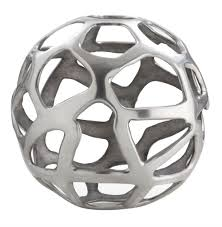 Home Sculpture Decor Ennis Polished Nickel Web Sphere Sculpture Decor Object 10 Inch