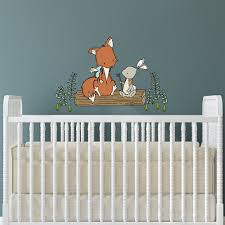 wall decal fox and bunny lets be adventurers woodland nursery