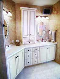 witching design of double sinks bathroom vanities with makeup area