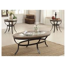 target coffee table set 3 piece everton pack coffee end table set oak antique black acme