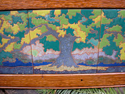 grand oak tree framed tile trio arts and crafts style mission