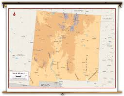 New Mexico Topographic Map by New Mexico State Physical Classroom Map From Academia Maps