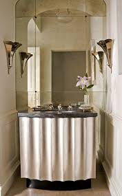 Powder Room Towels - mirror landscape powder room transitional with vanity patterned