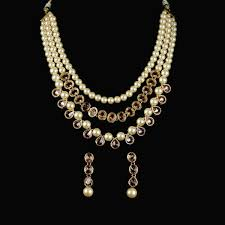 necklace stone setting images Strands of pearl and topaz stone setting necklace set gehna by jpg