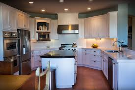 Kitchen Room Dark Wood Floors With Light Cabinets White River