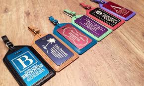 personalized aluminum and leather luggage tags 70 groupon