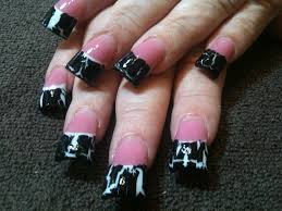 pink u0026 white french with black crackle nail art gallery