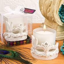 candle favors mardi gras masked theme candle votive