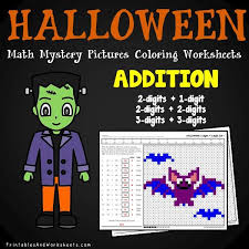 halloween addition mystery pictures coloring worksheets