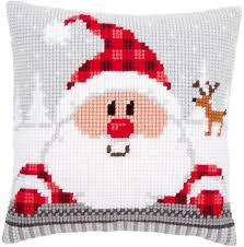 christmas needlepoint vervaco santa in a plaid hat cushion christmas needlepoint kit