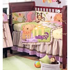 jungle bff purple yellow and green girls safari 4 piece crib set