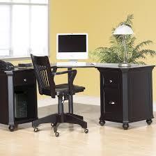 rustic varnished wooden corner computer desk with bottom shelf as