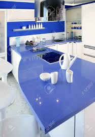 house kitchen interior design blue white kitchen modern interior design house architecture stock