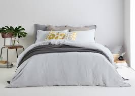 brisa 100 soft washed linen bed set light silver made com