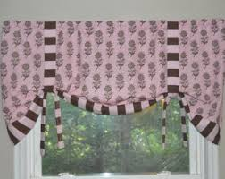 window valance tie up valance chocolate brown and white