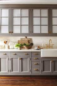 Kitchen Cabinets Grey Dark Gray Kitchen Cabinets Accented With Aged Brass Knobs Vintage