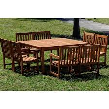 amazonia milano deluxe 9 piece eucalyptus wood square patio dining