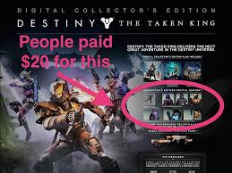 destinky taken king black friday amazon price destiny u0027 fans are furious they paid 20 for exclusive items that