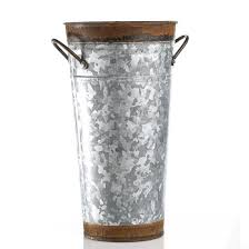 Tin Flower Vases Galvanized And Rusty Tin French Flower Bucket Bridal Showers And