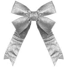silver christmas decorative 3d glitter christmas bow
