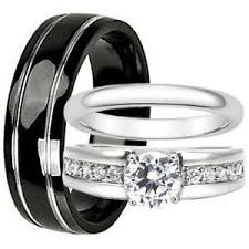 Steel Wedding Rings by His And Hers Wedding Bands Set Black Titanium Stainless Steel
