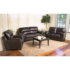 Discount Leather Sofa Sets Abbyson Caprice 3 Top Grain Leather Sofa Set Free Shipping