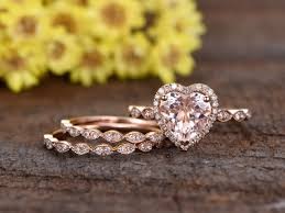 promise ring engagement ring and wedding ring set 8mm heart shaped pink morganite engagement ring set half eternity