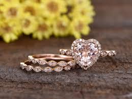 8mm heart shaped pink morganite engagement ring set half eternity