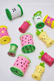 fruit craft with thread spools