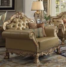 sofa dresden dresden chair in gold patina finish by acme 53162