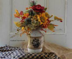 jar arrangements handcrafted country fall floral jar centerpiece arrangement