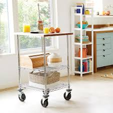 metro commercial butcher block top serving cart the container store