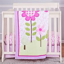 Crib Bedding Pattern Mini Crib Bedding Sets Design Pink Color Polyester Material