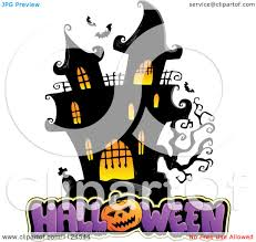 free halloween vector art cartoon of a lit haunted mansion with halloween text royalty