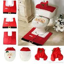 santa claus toilet kit seat cover u0026 rug u0026 tank tissue paper cover