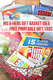 popcorn gift baskets free printable gifts tags a his hers popcorn gift