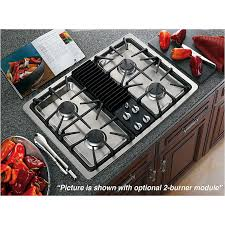 Design Ideas For Gas Cooktop With Downdraft Ge Profile Pgp990senss 30 Built In Modular Gas Cooktop