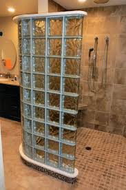 glass block bathroom designs curved glass block shower with a curbless entrance in simi valley