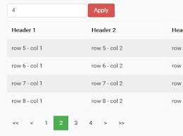 Html Table Header Row Tiny Jquery Pagination Widget For Html Table Table Hpaging