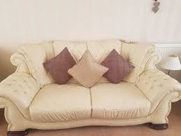 3 Seater Cream Leather Sofa Cream Leather Sofas 3 Seater 2 Seater And 2 Chairs Available