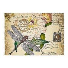 Dragonfly Indoor Outdoor Rug 2pcs Art Vintage Sketch Rose Dragonfly Butterfly Deco Pillow