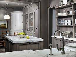 glass countertops kitchens with grey cabinets lighting flooring