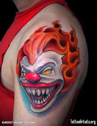 the bend clown faces tattoo design