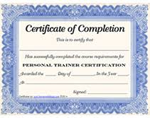 free personal trainer certificate printable templates