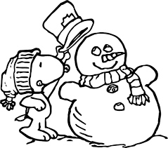 peanuts snoopy winter coloring wecoloringpage
