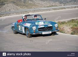 classic mercedes race cars blue 1955 mercedes 190 sl grand touring convertible car racing in