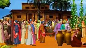 jesus turns water into wine in the wedding at cana bible cartoon