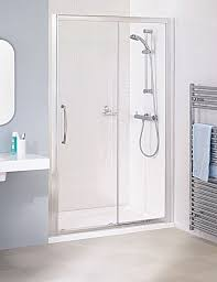 Clear Shower Door by Lakes Classic Silver Semi Frame Less Slider Door 1200 X 1850mm